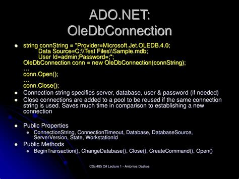 PPT - An Introduction to C# and Database Programming with
