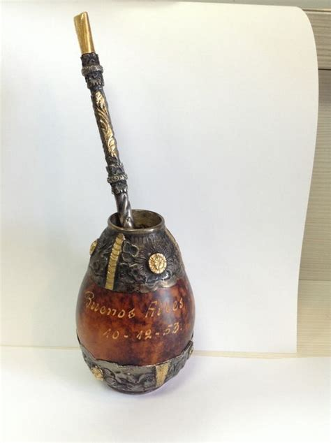 Silver and gold mounted gourd and bombilla, Argentina
