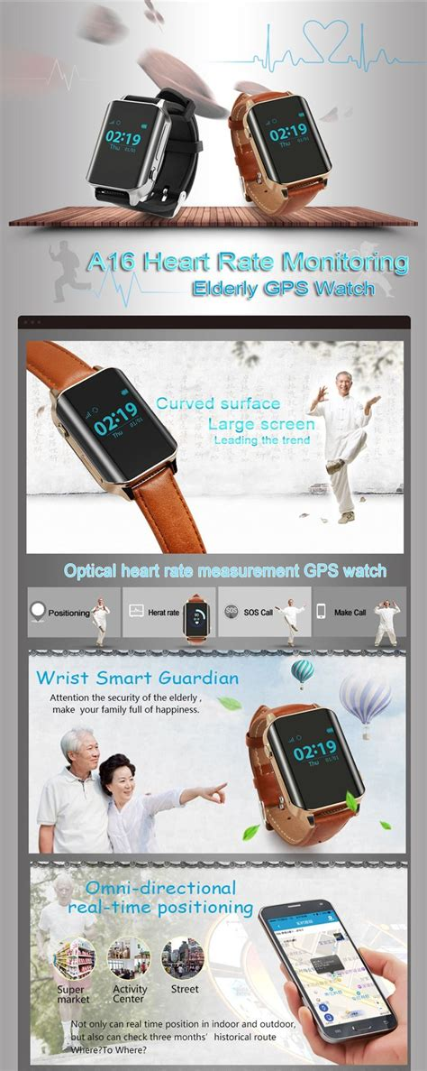 New Arrival A16 Gps Health Elderly Smart Watch With Heart