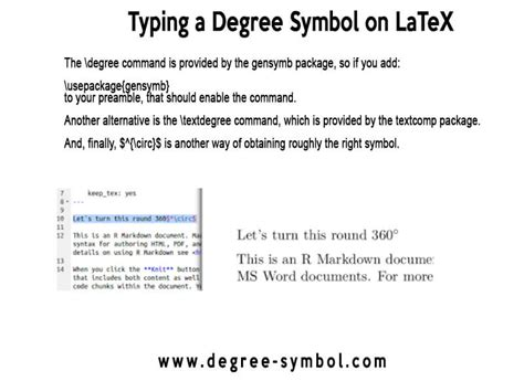 Typing a Degree Symbol on LaTeX