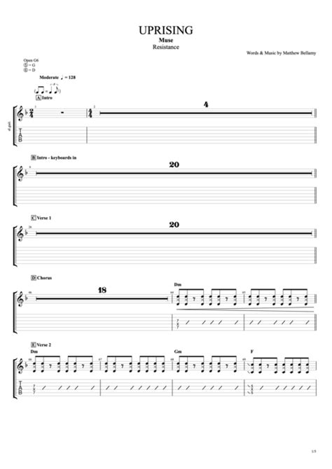 Uprising by Muse - Full Score Guitar Pro Tab | mySongBook