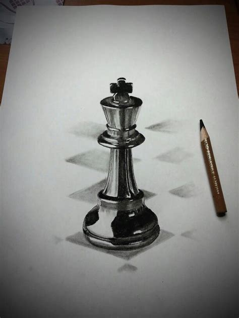 king chess piece in charcoal pencil | Chess piece tattoo
