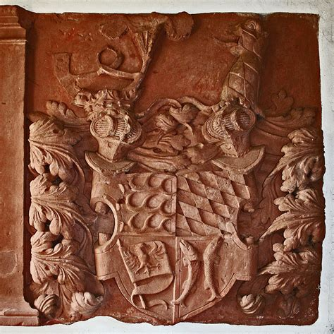 Wappen at Kirche Merlau - Coat of arms in sandstone relief