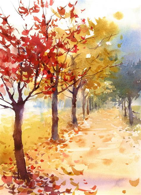 Fall Landscape With Trees And Fallen Leaves Watercolor