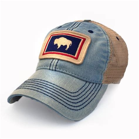 Wyoming Flag Patch Trucker Hat, Americana Blue   S