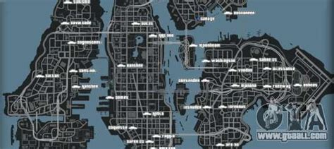 Map of cars in GTA 4 - all cars on a map