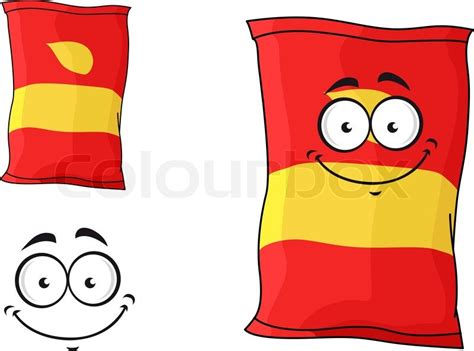 Cartoon funny packet of chips or