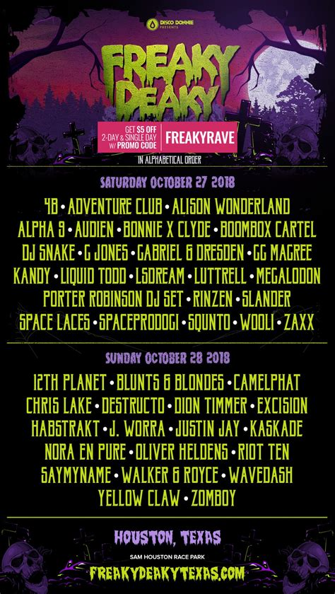 Freaky Deaky 2018 lineup by day | Groove Cruise Chris